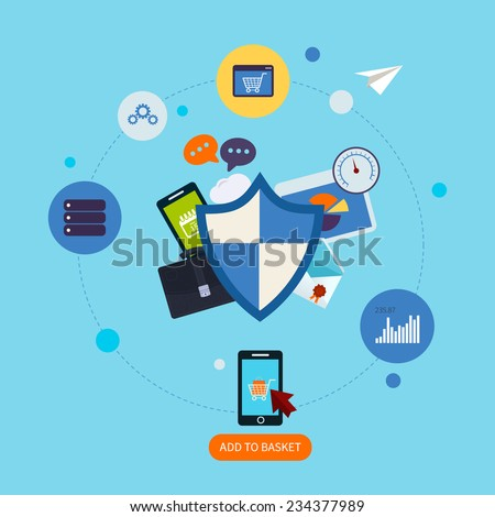 Flat shield icon. Data protection concept. Social network security and data protection - stock vector