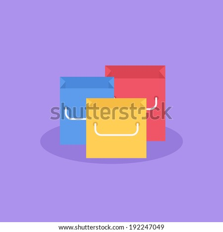 Flat shopping bags - stock vector