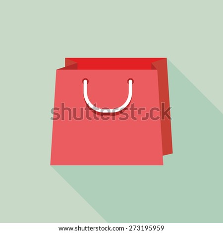 Flat shopping bags icon with Long Shadow - stock vector
