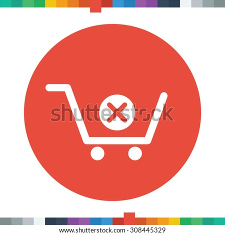 Shopping Cart Delete Icon Vector Illustration Stock Vector 156741728