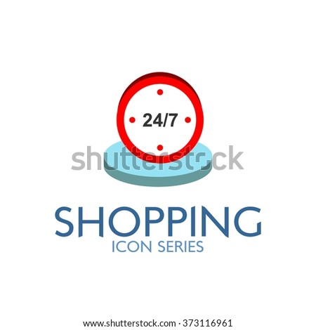 Flat Shopping Icon. Vector Illustration. Clock icon - stock vector