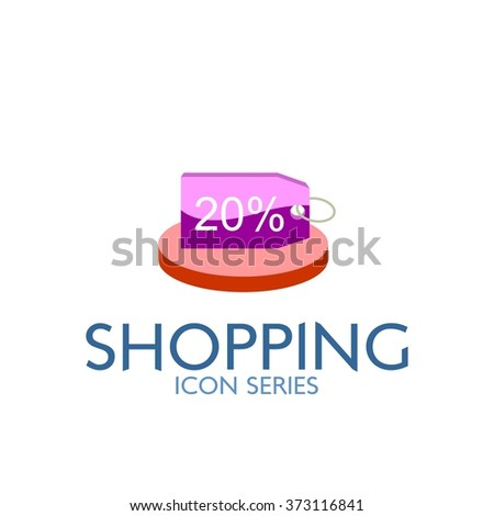 Flat Shopping Icon. Vector Illustration. Discount Tag Icon - stock vector