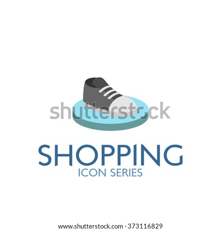 Flat Shopping Icon. Vector Illustration. Sneaker shoe section icon - stock vector