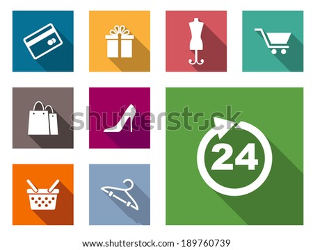 Flat shopping icons on colorful web buttons including a bank card, gift, dressmakers dummy, cart, bags, shoes, basket , hanger and 24 hour sign - stock vector