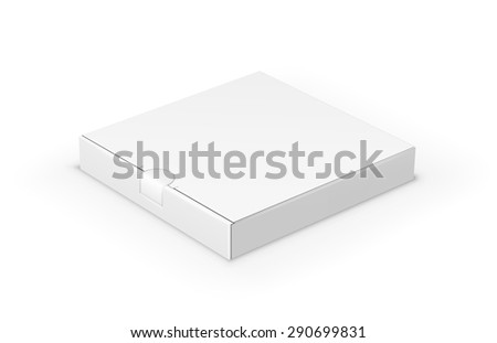 Flat short blank box with place for your design. Vector template - stock vector