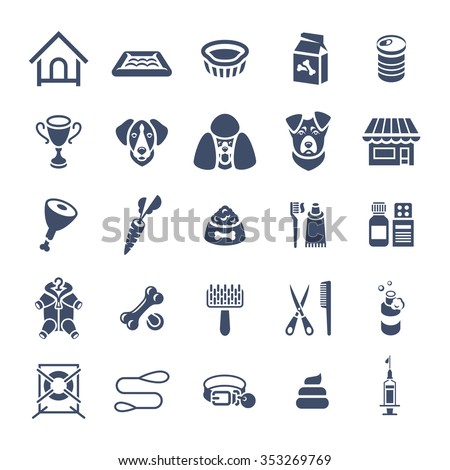 Flat silhouettes dog care vector web icons, isolated on white. Simple conceptual monochrome symbols of nutrition, grooming and accessories of dogs. Pets logo, pictogram, infographic elements - stock vector