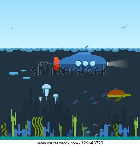 Flat, simple blue submarine swimming under the ocean with periscope. Underwater inhabitants. - stock vector