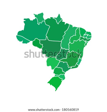 Flat simple Brazil map, vector background illustration - stock vector
