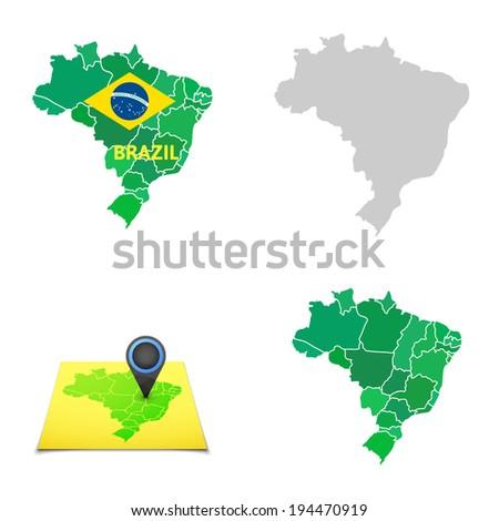 Brasil Map Stock Images RoyaltyFree Images Vectors Shutterstock - Brazil map illustration
