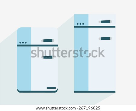 Flat Simple Fridge Icons - stock vector