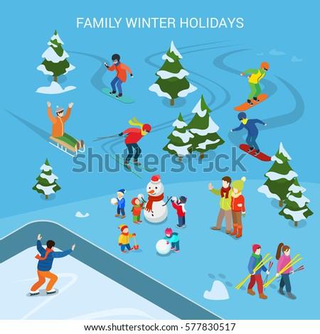 Flat ski resort snowy background adult stock vector for Designhotel ski