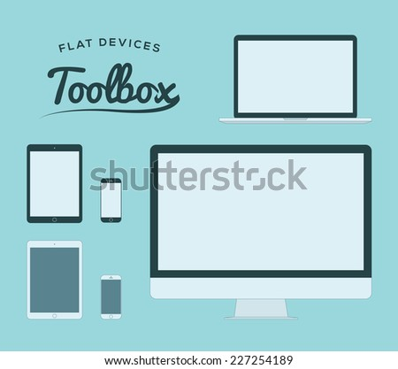 Flat smartphone, tablet, computer and laptop vector devices - stock vector