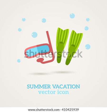 Flat snorkeling icon. Vector illustration. Dive mask, flippers. Summer holiday, seaside vacation. Diving equipment - stock vector