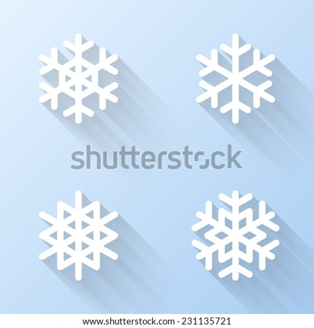 Flat snowflake icons. Vector illustration