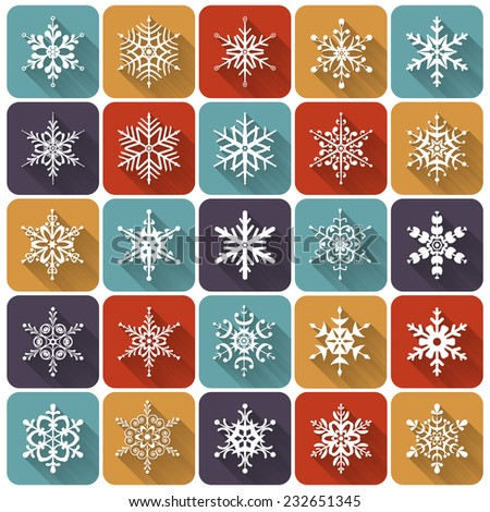 Flat snowflakes. Set of 25 white icons with long shadows. Elements of various shape for your design. Vector illustration. - stock vector