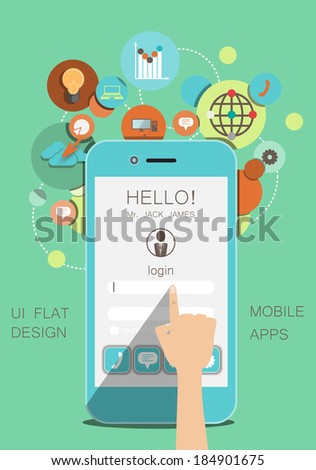 flat social icons smartphone design infographics / vector illustration - stock vector