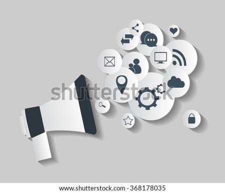 Flat social media icons in balloon with speaker vector eps 10 white - stock vector