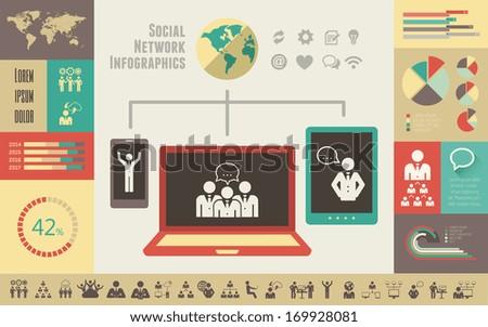 Flat Social Media Infographics plus Icon Set. Vector. - stock vector