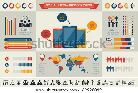 Flat Social Media Infographics plus Icon Set. Vector. - stock vector