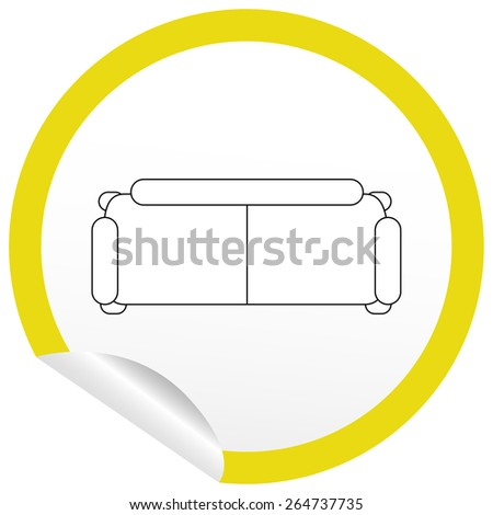 Flat sofa icon on sticker for floor plan outline. Line editable EPS10 vector furniture illustration. View from above