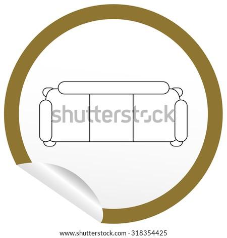 Flat Sofa Icon On Sticker Floor Stock Vector 251696821 - Shutterstock