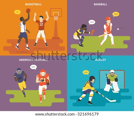 Flat sport icons set of basketball game players, teenagers playing baseball, athlete guy plays american football and young boys are playing ice hockey - stock vector