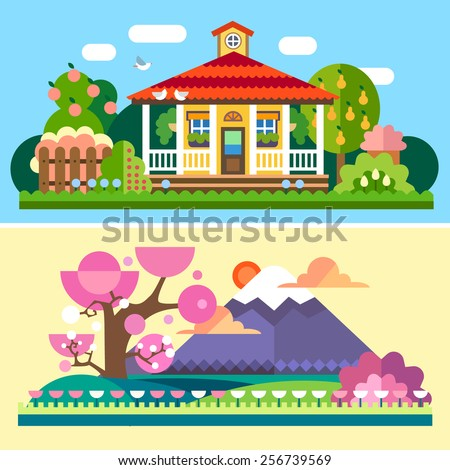 Flat spring and summer Spring and summer landscapes. Garden with apple and pear trees, house with red roof  and terrace, flowers. Japan, cherry blossoms, Mount Fuji, field. Vector flat illustrations  - stock vector
