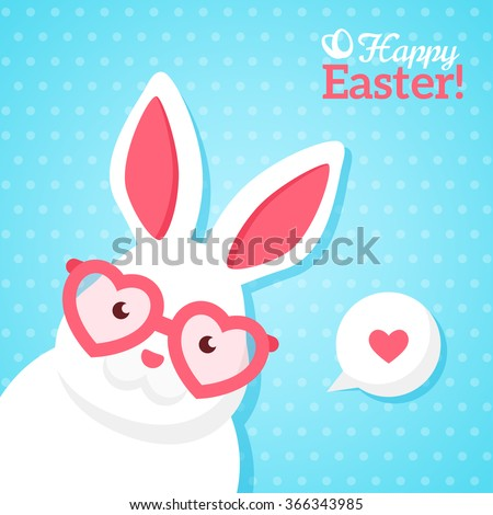 Flat Square Happy Easter Banner with White Hipster Rabbit in Pink Heart Shaped Sunglasses. Vector illustration. Happy Easter Greeting Card. Polka Dots Blue Background. Funny Easter Bunny - stock vector