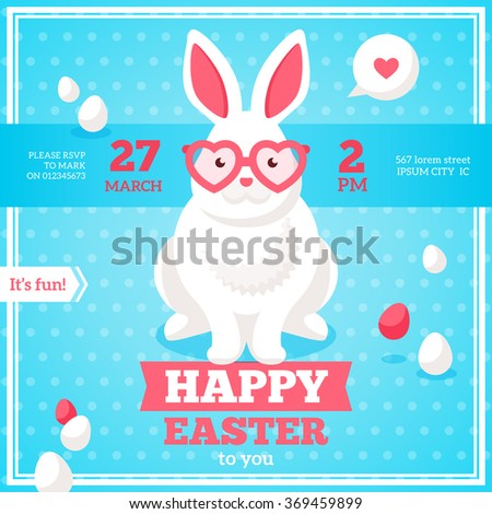 Happy easter poster banner greeting card stock vector 373808941 flat square happy easter banner with white hipster rabbit in pink heart shaped sunglasses vector negle Gallery