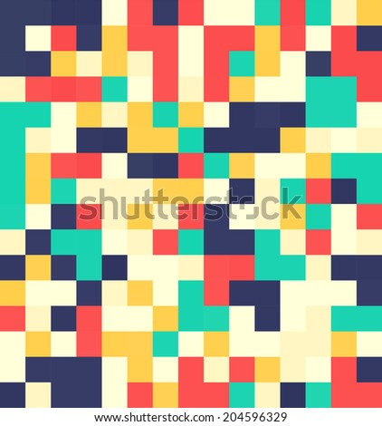 Flat squares seamless pattern - stock vector