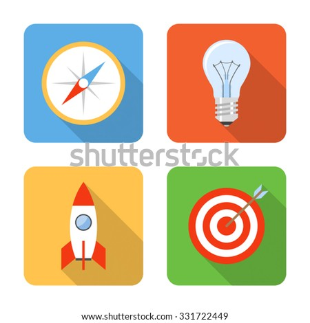 Flat startup icons with long shadows. Vector illustration - stock vector