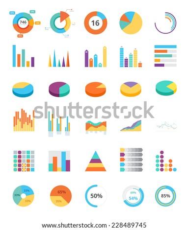 Flat statistics analysis graphic and piecharts collection set. Piecharts, tables, graphics, statistics, analytics. - stock vector
