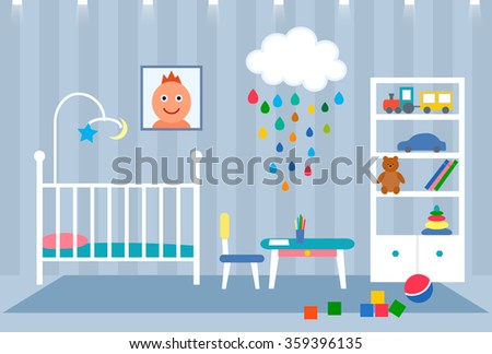 Flat striking illustration of a child's room for a baby with his portrait, furniture, toys. Vector - stock vector