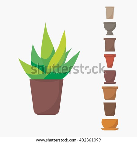 Flat style aloe vera in pot vector icon. Green indoor vector aloe vera with different pots icons. Aloe vera isolated on white background. Set of pots icons. Indoor, office and house plant in pot. - stock vector