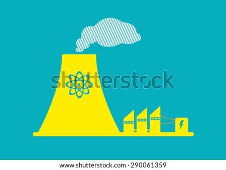 Flat Style Art of a Atomic Energy Plant. Editable Clip Art. - stock vector