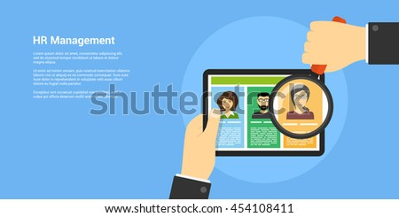 flat style banner, human resource and recruiting concept, human hand with magnifying glass and people avatars