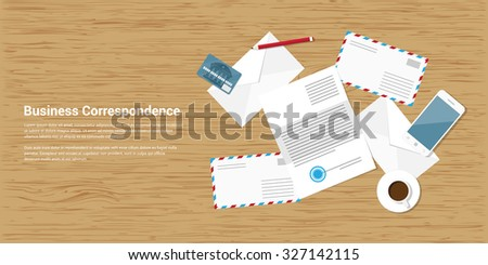 flat style banner illustration of business correspondence and mailing concept - stock vector
