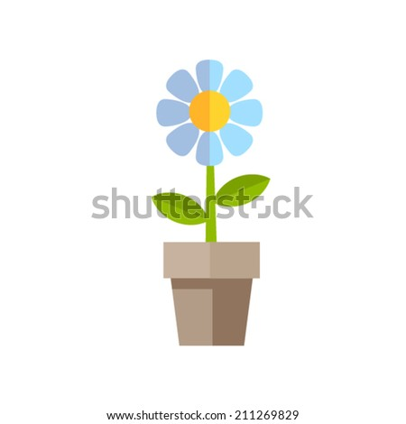 flat style blue flower icon