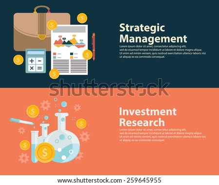 Flat style business success strategy target infographic concept and Investment research.  Web banners templates set. - stock vector