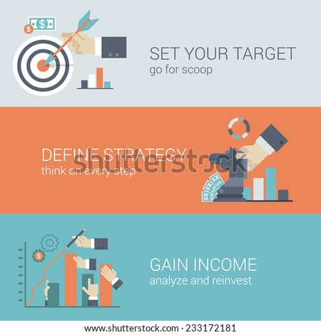 Flat style business success strategy target infographic concept. Hand with bow arrow scoop aim, chess figure horse money graphic, income chart bar arm stretching web site icon banners templates set. - stock vector