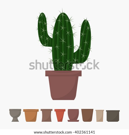 Flat style cactus in pot vector icon. Green indoor vector Cactus with different pots icons. Cactus isolated on white background. Set of pots icons. Indoor, office and house cactus in pot. - stock vector