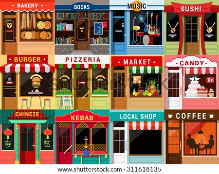 Flat style cafe restaurant bistro little tiny fancy cool shop big icon set. Bakery bookstore music sushi burger pizzeria food market candy Chinese kebab coffee. - stock vector