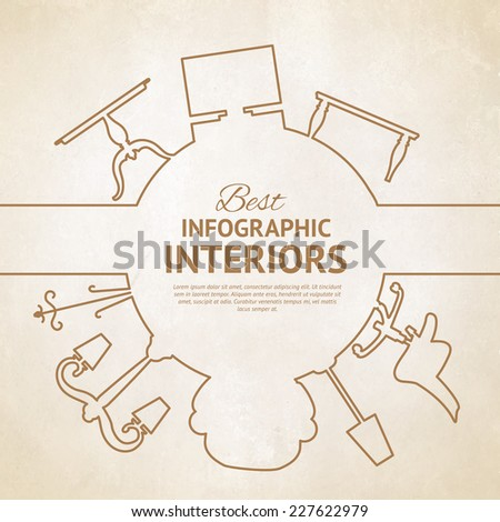 Flat Style Card With Interior Design Elements Vector Illustration