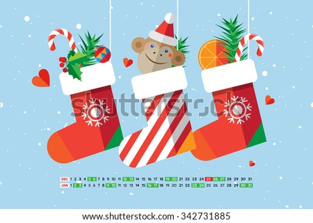 Flat style cartoon New Year calendar Christmas sock with candies, gifts and cute monkey. December and January. Vector illustration. - stock vector