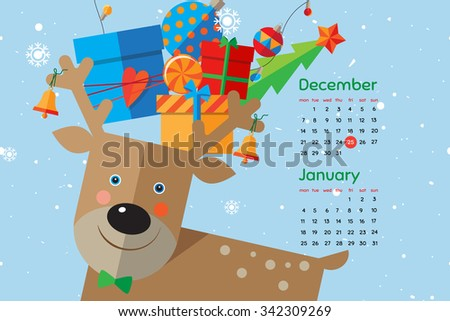 Flat style cartoon New Year calendar with cute deer. December and January. Vector illustration. - stock vector