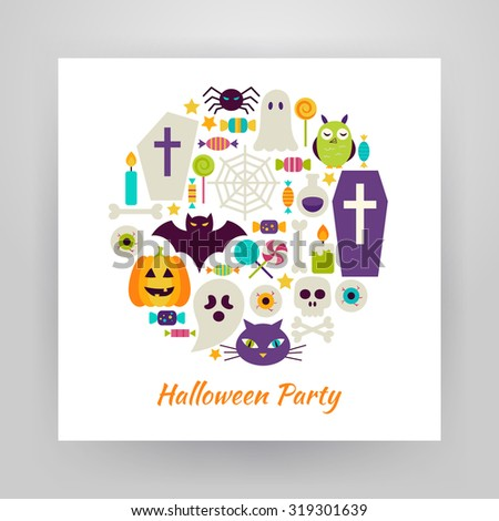 Flat Style Circle Vector Set of Halloween Holiday Objects over white Paper. Collection of Magic Items Isolated over white. Trick or Treat. Design Elements over Paper Template - stock vector