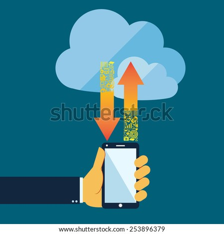 Flat style  cloud computing  and communication  technology concept with mobile phone  - stock vector