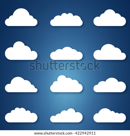 Flat style clouds with realistic shadows.