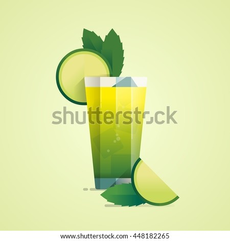 flat style cocktail background, vector illustration - stock vector