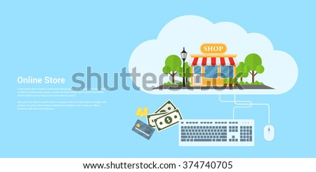 Flat style color banner. Concept for online store and e-commerce. - stock vector